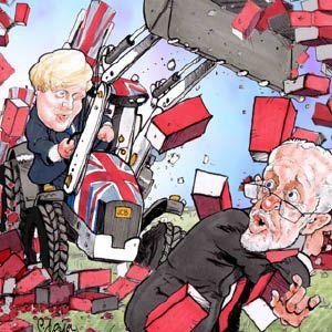 Red Wall Cartoon by Paul Thatcher Framed